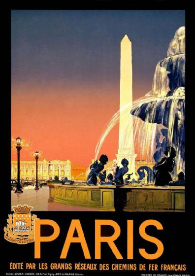 Vintage Paris Travel Print/Poster. Sizes: A4/A3/A2/A1 (002690)